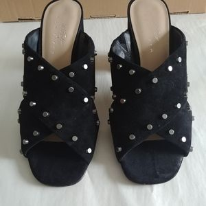 Lord & Taylor black suede studded mules